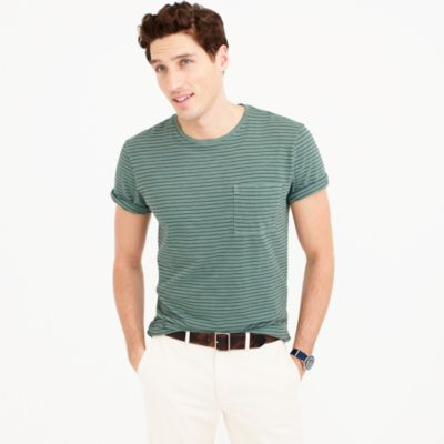 Garment-dyed T-shirt in microstripe