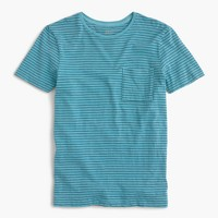 Tall garment-dyed T-shirt in microstripe