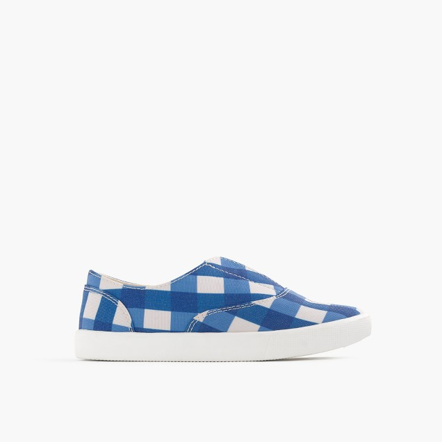 Girls' elastic slide sneakers in gingham