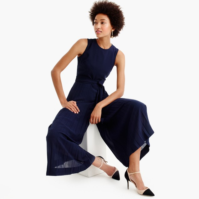 Collection wide-leg pleated jumpsuit