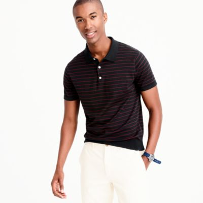 Pima cotton short-sleeve sweater-polo in stripe