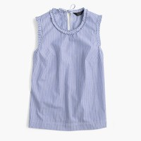 Ruffle-trim top in striped cotton poplin