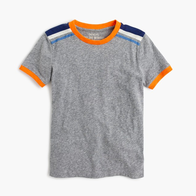 Boys' shoulder-stripe T-shirt in the softest jersey