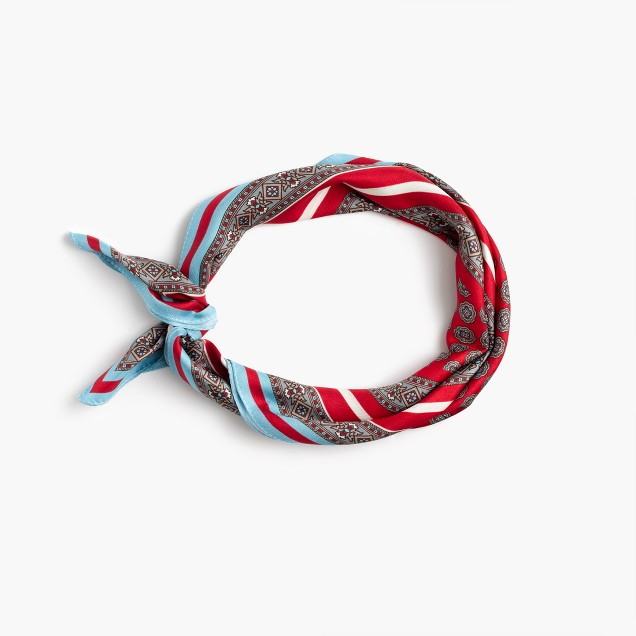 Italian silk square scarf in foulard print