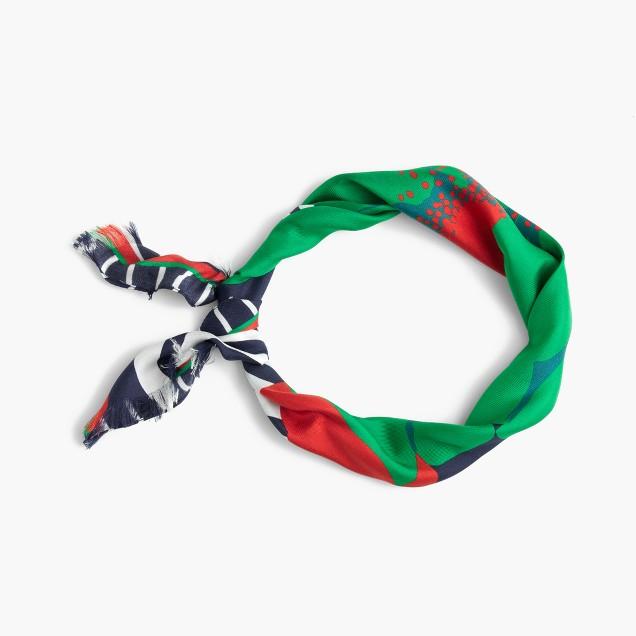 Italian silk square scarf in Ratti® striped floral