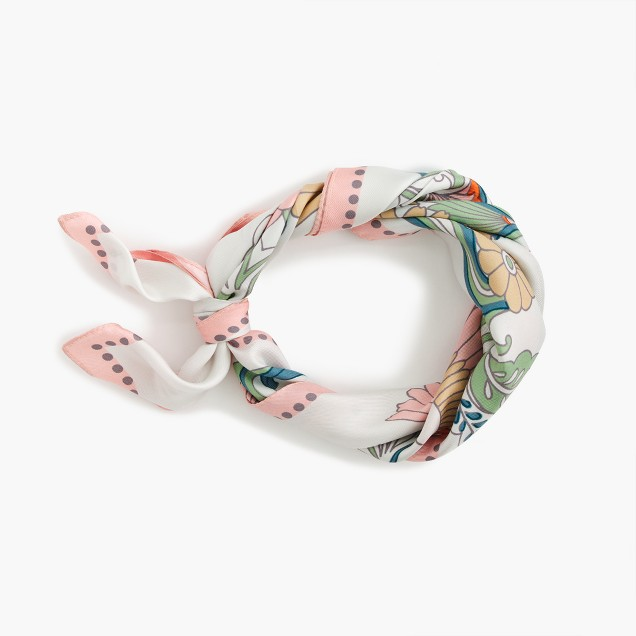 Italian silk square scarf in ornate floral