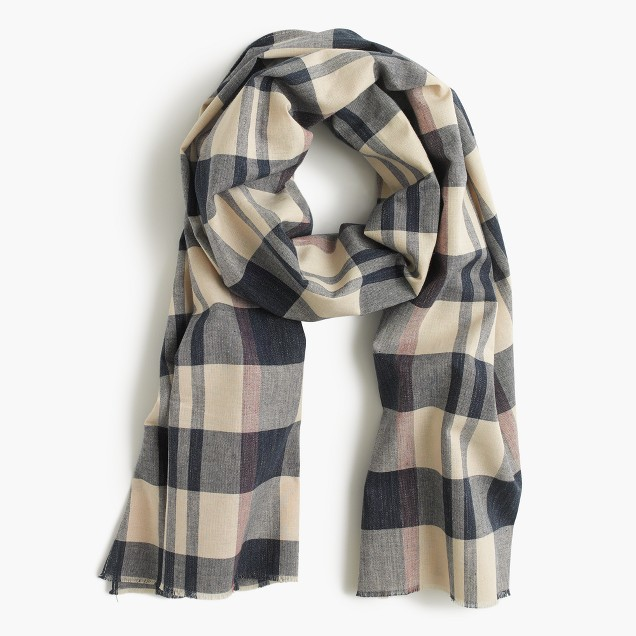 Lightweight cotton scarf in plaid