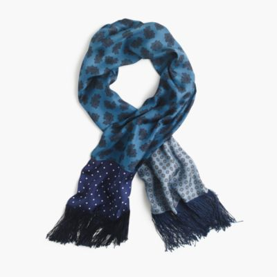 Lightweight silk twill scarf in printed patchwork