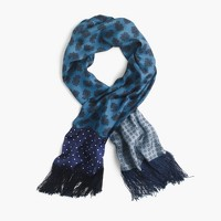 Lightweight silk twill scarf in printed patchwork