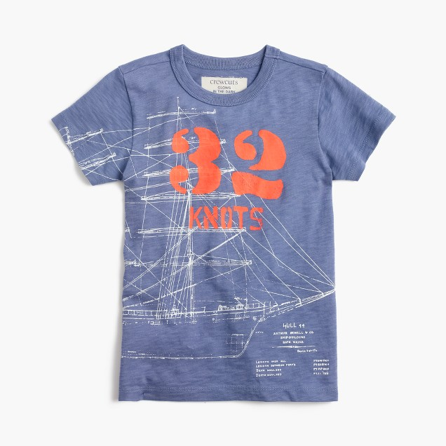 Boys' glow-in-the-dark ship blueprint T-shirt