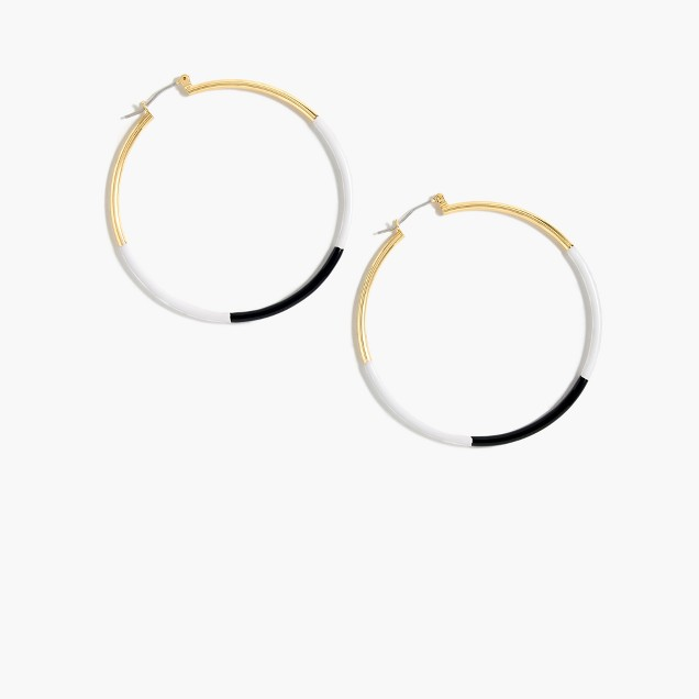 Dipped enamel hoop earrings