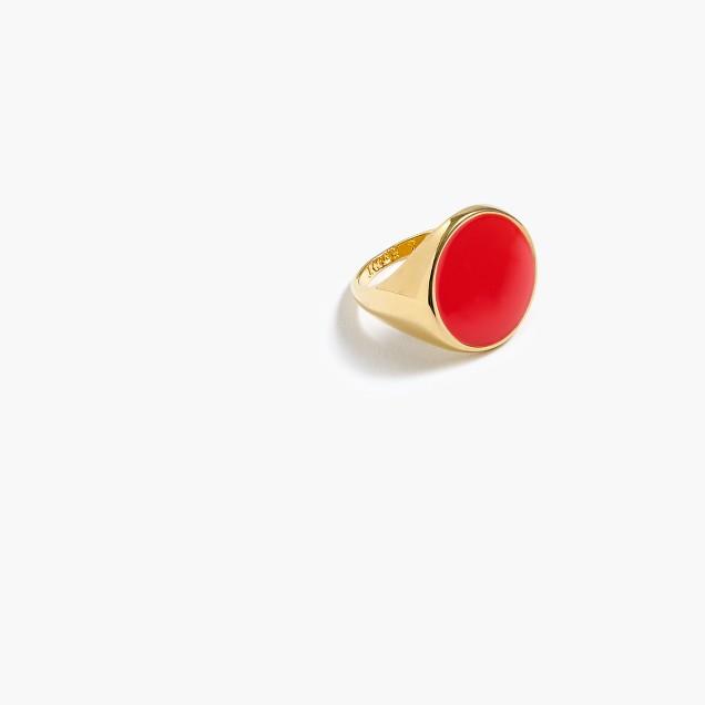 Large enamel signet ring