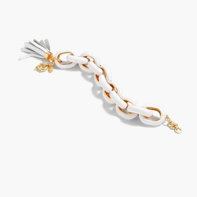 Enamel chain tassel bracelet
