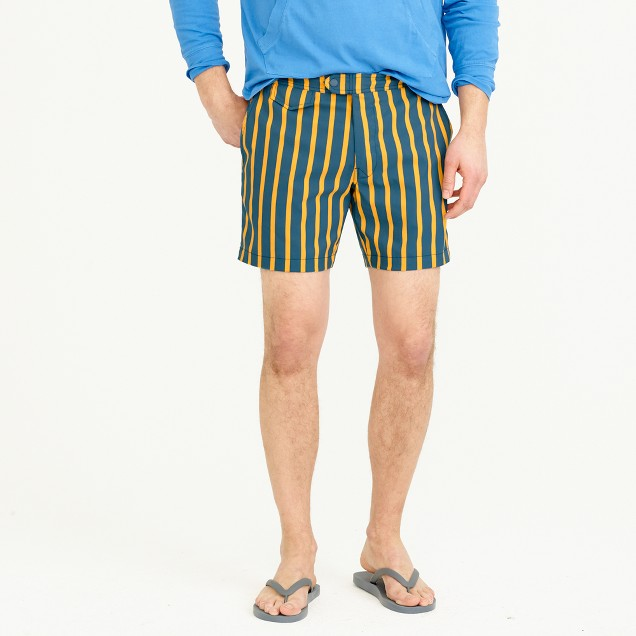 "6.5"" tab stretch swim short in yellow stripe"