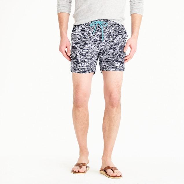"6"" swim trunk in geometric print"