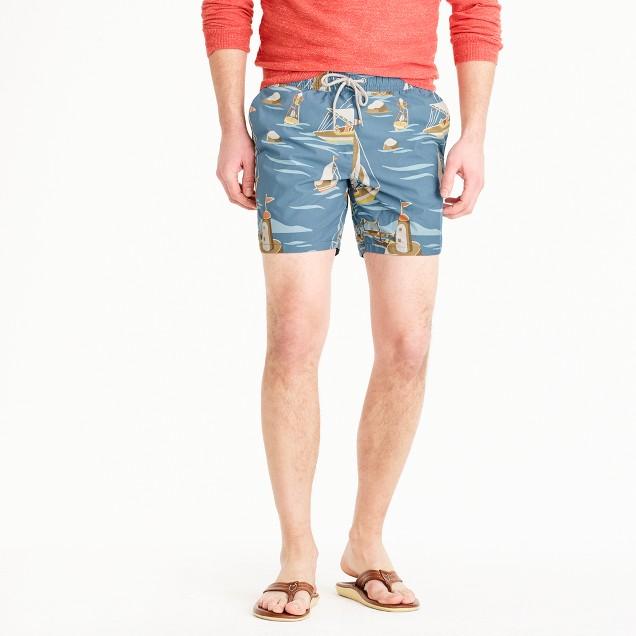 "6"" swim trunk in sailboat print"