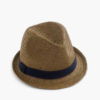 Kids' straw trilby hat
