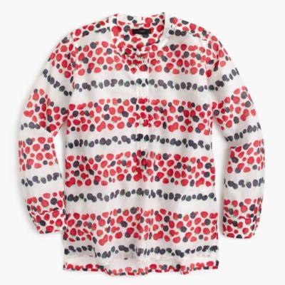 Petite cotton-silk voile popover shirt in berry print