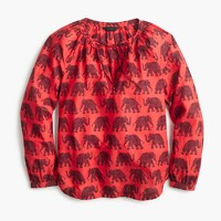 Petite tie-neck top in elephant paisley