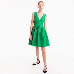 Petite V-neck A-line dress in faille