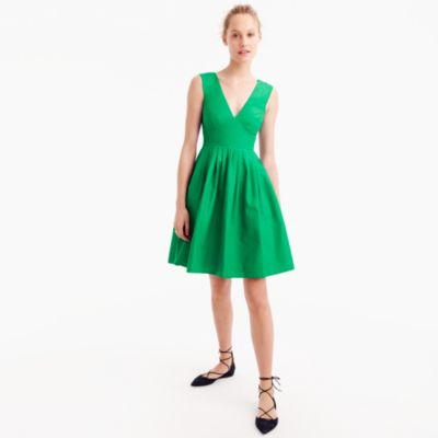 Tall V-neck A-line dress in faille