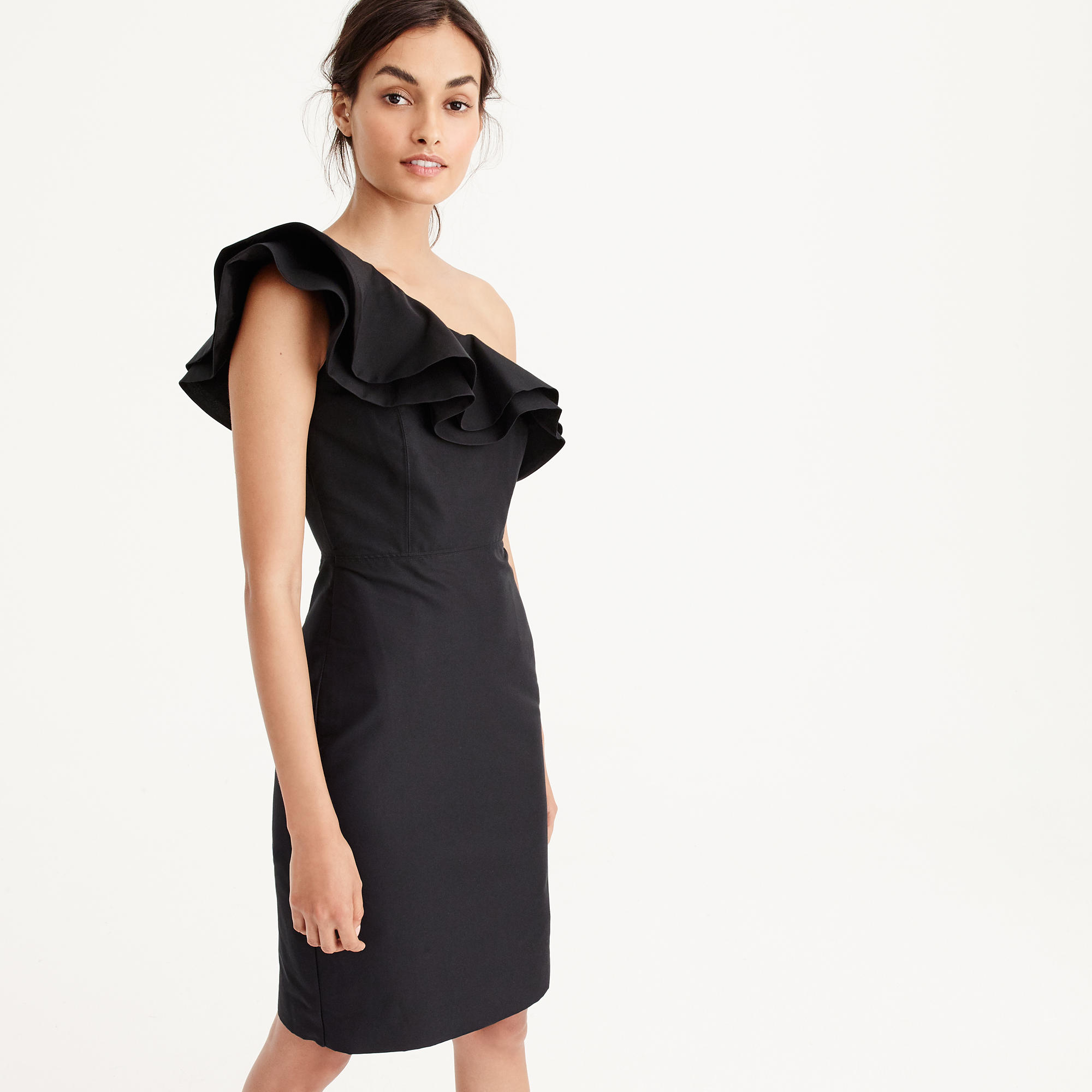 Womens tall dresses womens tall clothing jew tall one shoulder ruffle dress in faille ombrellifo Gallery