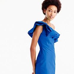 Petite one-shoulder ruffle dress in faille