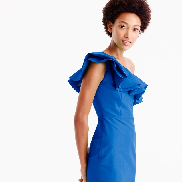 One-shoulder ruffle dress in faille