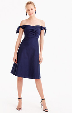 Pre-order Off-the-shoulder strapless dress with ties in faille
