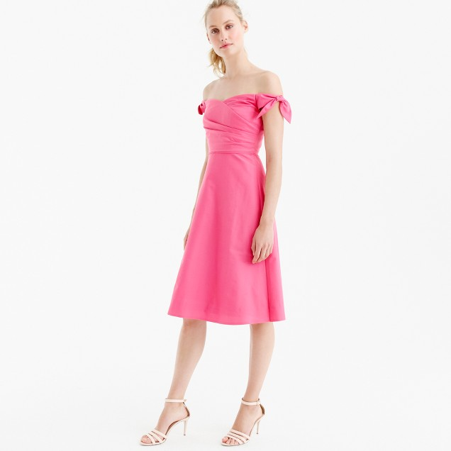 Off-the-shoulder strapless dress with ties in faille