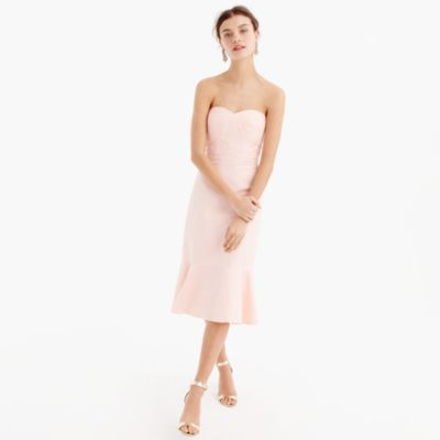 Petite strapless ruffle-hem dress in faille