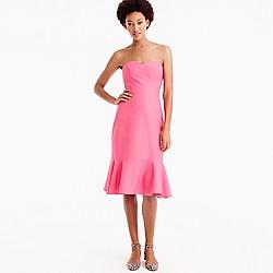 Pre-order Petite strapless ruffle-hem dress in faille