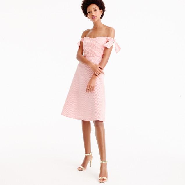 Off-the-shoulder seersucker dress with ties