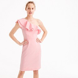 Petite one-shoulder ruffle dress in seersucker