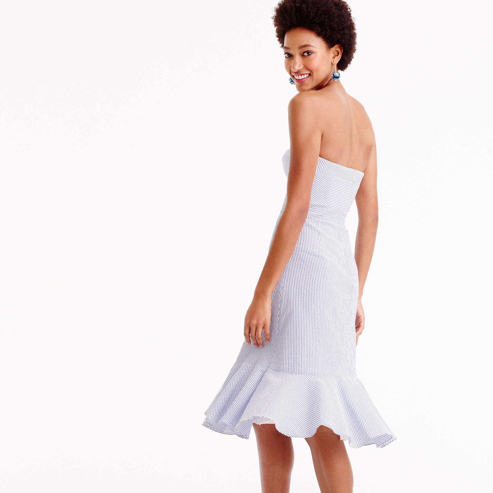Strapless ruffle-hem dress in seersucker : Women ready-to-party ...