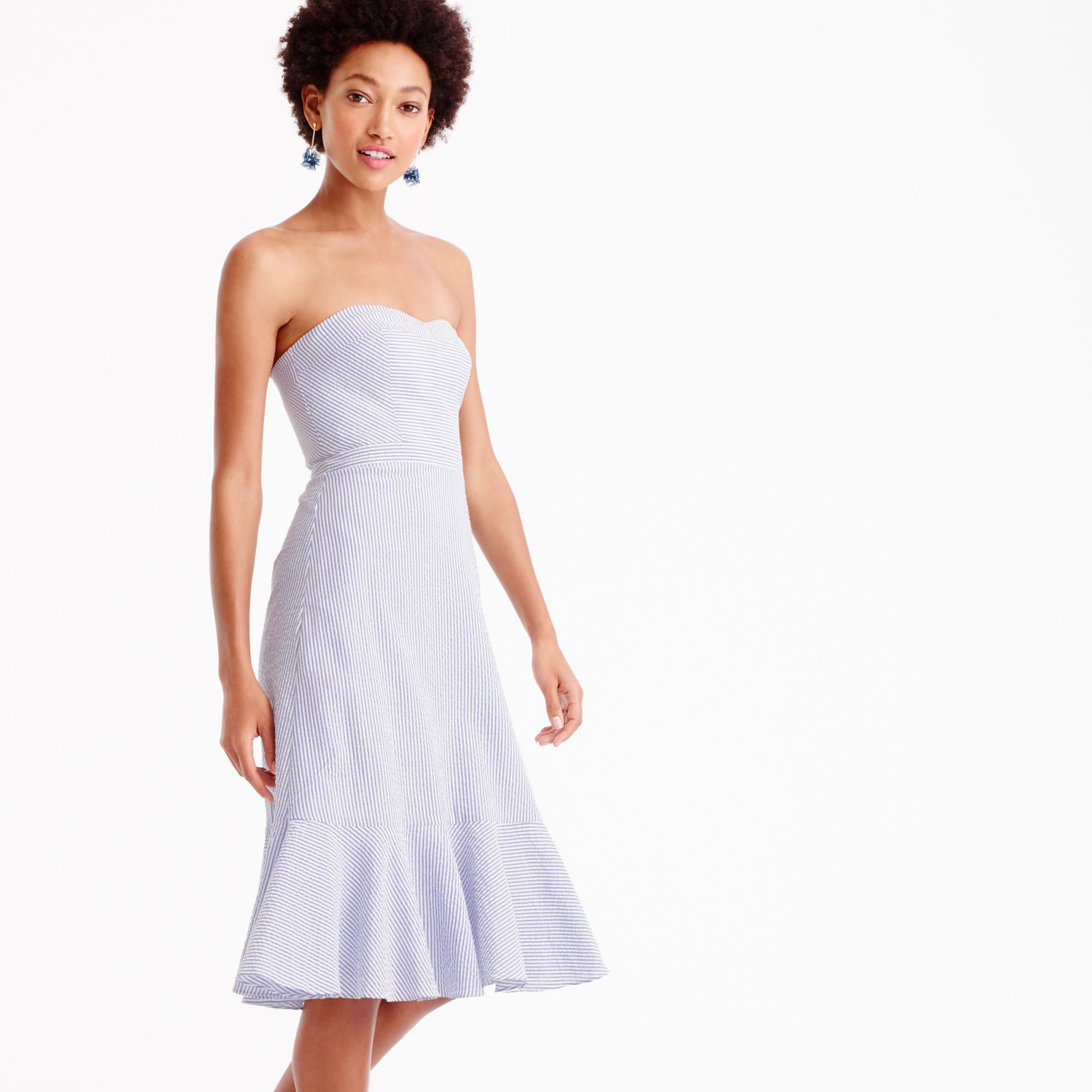 Strapless ruffle-hem dress in seersucker : Women ready-to-party ...
