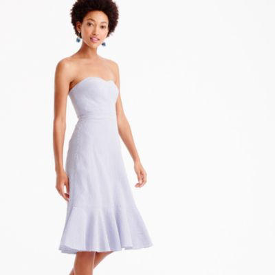 Petite strapless ruffle-hem dress in seersucker