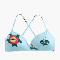 French cross-back bikini top in Florida print
