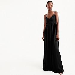 Petite long drapey spaghetti-strap dress