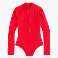 Zip-up long-sleeve swimsuit