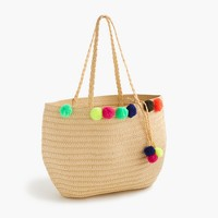 Girls' pom-pom straw tote bag
