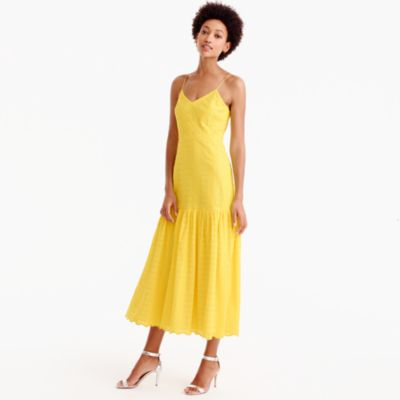 Tiered spaghetti-strap midi dress in eyelet