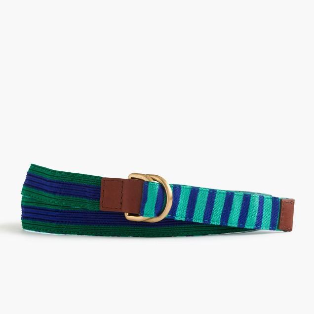Striped reversible woven belt