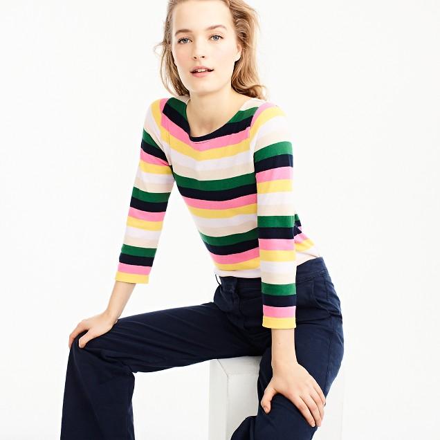 Boatneck T-shirt in vintage stripe