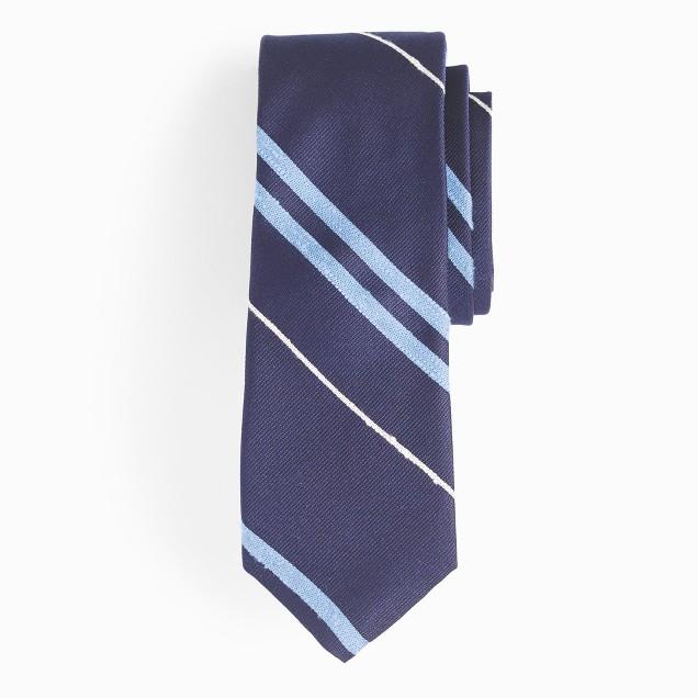 Silk tie in multistripe