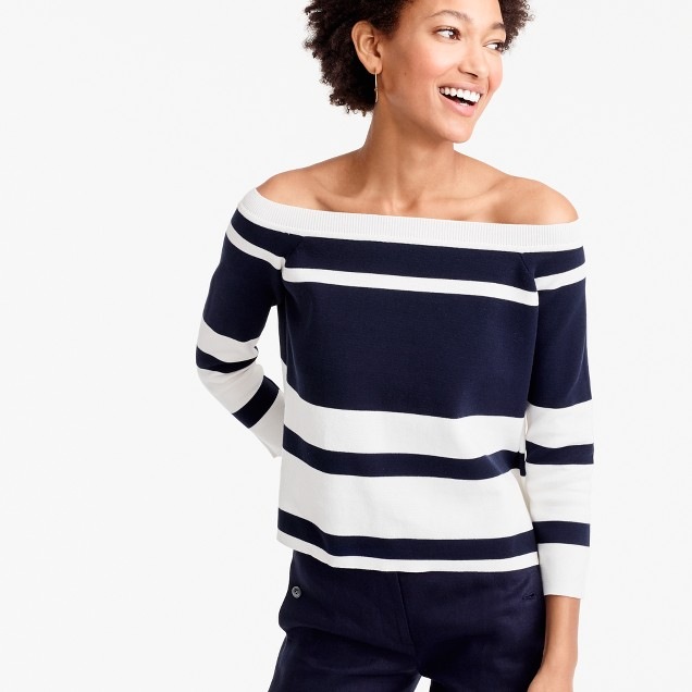 Off-the-shoulder striped sweater