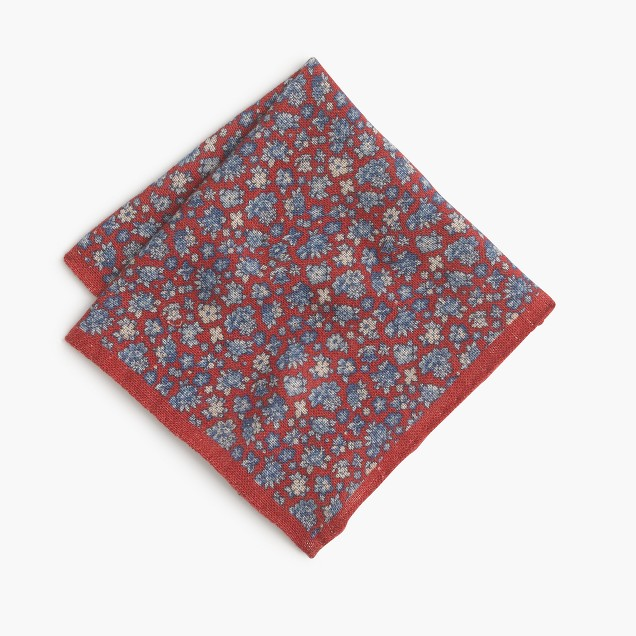 Linen pocket square in floral print