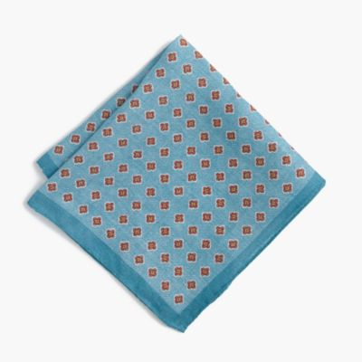Linen pocket square in foulard
