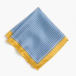 Silk pocket square in blue houndstooth