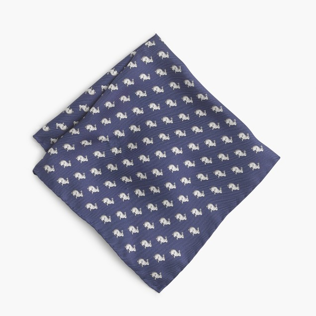 Silk pocket square in rabbit print